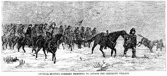 Battle of Washita River - General Custer Marching to Cheyenne Village, 1868