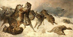 "Struggle for existence - In 1879 George Bouverie Goddard depicted ""The Struggle for Existence"" as a fight to the death between wolves."