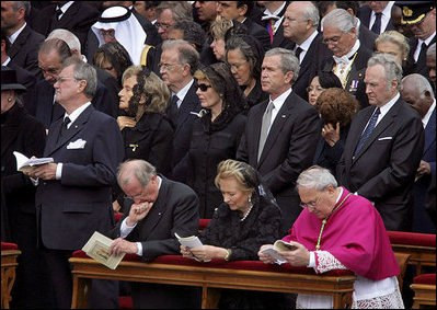 George W. Bush John Paul II funeral