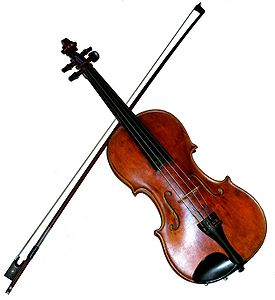 A German, maple Violin made in c.1880. It has dominant strings and ebony fittings. Beneath is a W.E. Dörfler bow