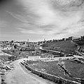 Gezicht op de ommuring van de oude stad van Jeruzalem vanuit het Kedrondal met d, Bestanddeelnr 255-1612.jpg
