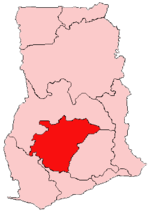 Location of Ashanti Region in GhanaMap of Ashanti