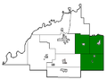 Gibson County Indiana school areas-East Gibson School District.PNG