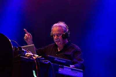 "Giorgio Moroder, pioneer of Italo disco and electronic dance music, is known as the ""Father of Disco"" Giorgio Moroder Melt! 2015 02.jpg"