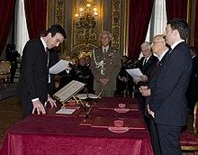 Giuramento del ministro Martina al Quirinale il 22 febbraio 2014.