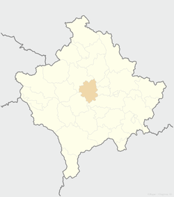 Location of the municipality of Drenas within Kosovo