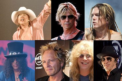 The members of Guns N' Roses inducted into the Rock and Roll Hall of Fame. Top row: Axl Rose, Duff McKagan, Dizzy Reed. Bottom Row: Slash, Matt Sorum, Steven Adler, Izzy Stradlin. Gnr rrhof.jpg