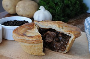 Steak pie - A handmade steak and ale pie. A very traditional English pie flavour