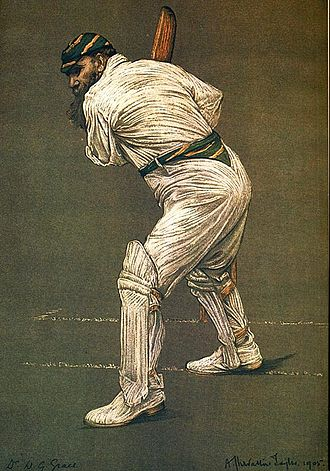 London County Cricket Club - WG Grace in the colours of London County, painted by Albert Chevallier Tayler.