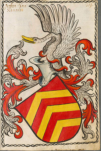 Philipp III, Count of Hanau-Münzenberg - Coat of arms of the Lords and Counts of Hanau, after Scheibler's armorial