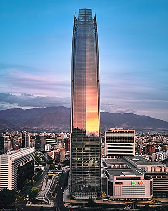 The Gran Torre Santiago (Great Santiago Tower), part of the Costanera Center complex, is the tallest building in Ibero-America Gran Torre Santiago, Costanera Center (24847266437).jpg