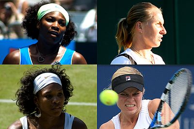 Grand Slam women's singles champions of 2009: Australian Open and Wimbledon titlist Serena Williams (top/bottom left), French Open winner Svetlana Kuznetsova (top right), and US Open champion Kim Clijsters (bottom right).