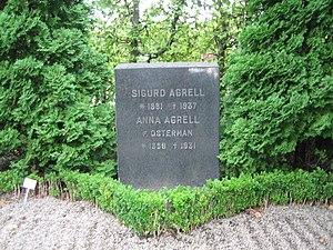 Sigurd Agrell - Sigurd Agrell's tombstone at Norra kyrkogården in Lund.
