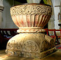 Great Kimble. St Nicholas church. Font (Aylesbury type) from west.jpg