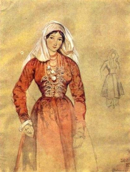 Grigory Gagarin. Portrait of Cossacks Women