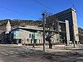 Gulating lagmannsrett courthouse (Appeal Court) at Gulatings plass, Kaigaten, Den gamle hovedbrannstasjonen (old firestation), Bergen rådhus (city hall), etc. in Bergen, Norway. 2018-03-18.jpg