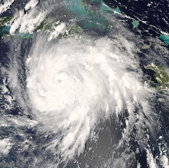 Hurricane Gustav - Hurricane Gustav, just after making landfall in Jamaica, August 29