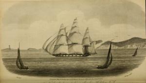 HMS Atalante (1808) - HMS Atalante passing Sambro, Nova Scotia by W. E. Bailey