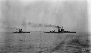 HMS Erin - Erin and Centurion conducting gunnery training in Scapa Flow, May 1917.