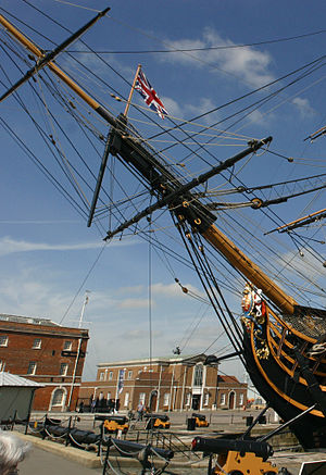 Bobstay - Bows of HMS Victory: three parallel bobstays, separate dolphin-striker with martingale stays.
