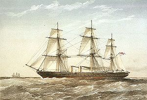 HMS Warrior (1860) - A painting of Warrior under sail