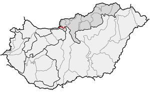 Danube Bend - Danube Bend (in red) as one of microregions in physical geography of Hungary