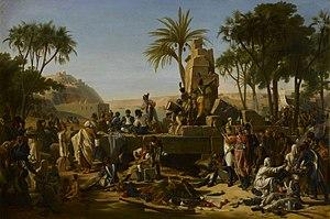 Jean-Charles Tardieu - Halte de l'armée française à Syène 2 février 1799
