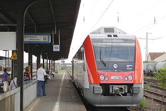 Hanau Hauptbahnhof - Odenwald Railway service waiting in the station