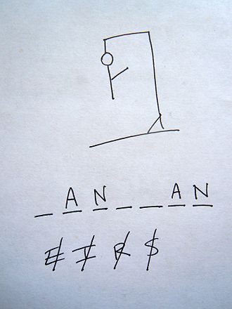 """Hangman (game) - An example game of Hangman in progress. The underlined letters appear in the word in their correct places, while the crossed-out letters do not appear, and each crossed-out letter corresponds to one part of the drawing. In this case, the secret word is """"hangman""""."""