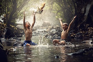 Happiness - Happy children playing in water
