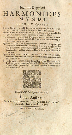 Harmonices Mundi - 1619 first edition