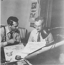 Harris Levey (aka Lee Harris), on left with pencil. Circa 1946