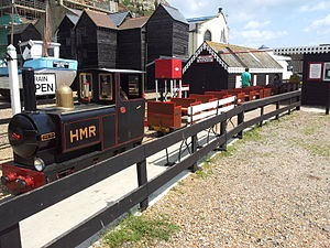 Hastings Miniature Railway - The eastern terminus, Rock-a-Nore, with a train in the station.