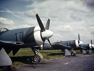 Hawker Tempest - New Tempest IIs of the first production batch at Hawker Aircraft. Note the closely cowled engine and the carburettor and oil-cooler intakes in the starboard wing's inner leading edge.