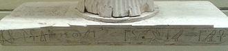 Pepi II Neferkare - Base of a headrest inscribed with Pepi II's titulary. Musée du Louvre.