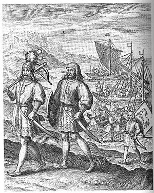"English people - ""The Arrival of the First Ancestors of Englishmen out of Germany into Britain"": a fanciful image of the Anglo-Saxon migration, an event central to the English national myth. From A Restitution of Decayed Intelligence by Richard Verstegan (1605)"