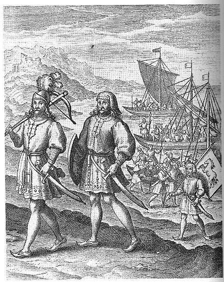 """The Arrival of the First Ancestors of Englishmen out of Germany into Britain"": a fanciful image of the Anglo-Saxon migration, an event central to the English national myth. From A Restitution of Decayed Intelligence by Richard Verstegan (1605) Hengest and Horsa Verstegan.jpg"