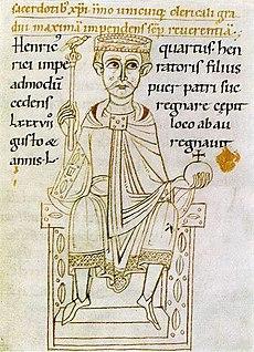 Heinrich IV. auf einem Thron sitzend mit Zepter und Reichsapfel