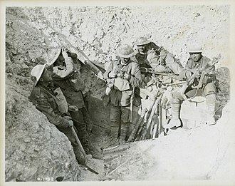 Battle of Hill 70 - Canadian soldiers in a captured German trench