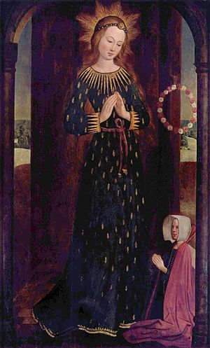 Hinrik Funhof - The Virgin Mary with Headdress (ca. 1480, DE: Maria mit Ährenkleid), in the collection of the Hamburger Kunsthalle