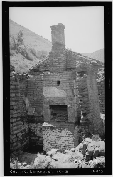File:Historic American Buildings Survey Photographed by Henry F. Withey May 1937 OFFICERS QUARTERS, FIREPLACE IN DINING ROOM. - Fort Tejon, Officers' Quarters, Highway 99, Lebec, HABS CAL,15-LEBEC.V,1C-3.tif