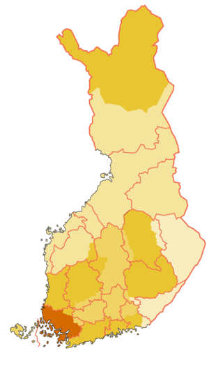 Finland Proper (historical province) - Historical province of Southwest Finland (borders of the modern provinces, i.e. regions with pink colour)