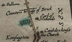 "Holland House - Holland House shown as ""Earl of Hollands"" on a 1675 map by John Ogilby."
