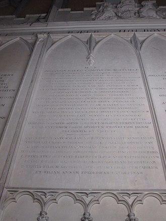 John Baker Holroyd, 1st Earl of Sheffield - Holroyd's memorial tablet on the family mausoleum in Fletching parish church