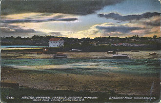 Te Hopua a Rangi - Postcard from around 1910 showing view of Hopua crater when it was a tidal lagoon.
