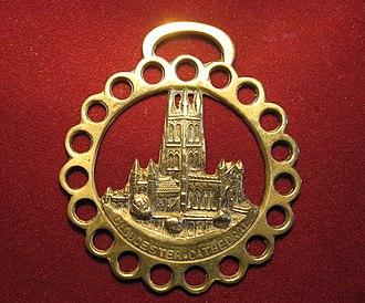 Horse brass - A modern souvenir Horse brass featuring Gloucester cathedral