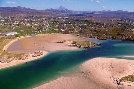 Aerial view of Gweedore, County Donegal, Enya's hometown Hotel, beach, and shipwreck south of R257 at Bunbeg - geograph.org.uk - 1159653.jpg