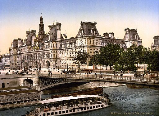 Hotel de ville, Paris, France, ca. 1890 and ca. 1900