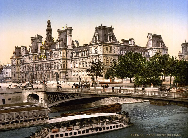 File hotel de ville paris france ca 1890 and ca 1900 for Accouchement en piscine en france