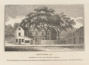 Liberty Tree - The Liberty Tree in Boston, as illustrated in 1825